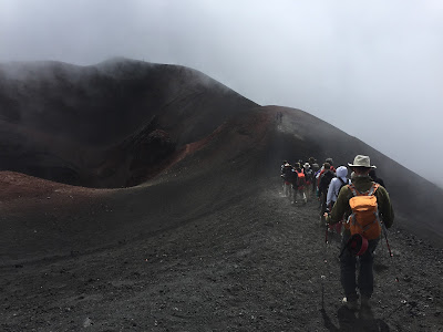 Mount Etna - Making our way down to the funivia top station