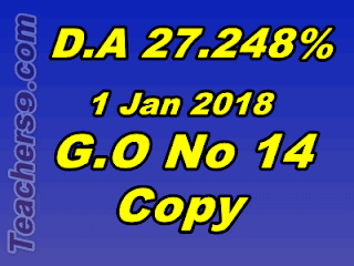 Dearness Allowance to the State Government Employees from 1st January 2018 – Sanctioned – Orders - G.O No 14