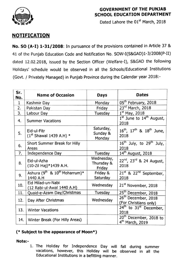 Summer Vacation 2018 in Schools Punjab According to Annual holidays Schedule Calendar Year 2018
