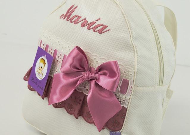 Mochila bebe beige y rosa empolvado