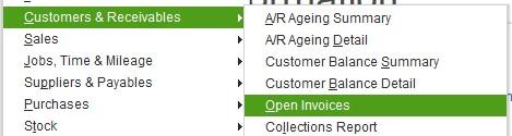 Customer Open Invoice Export QuickBooks 2 Sage