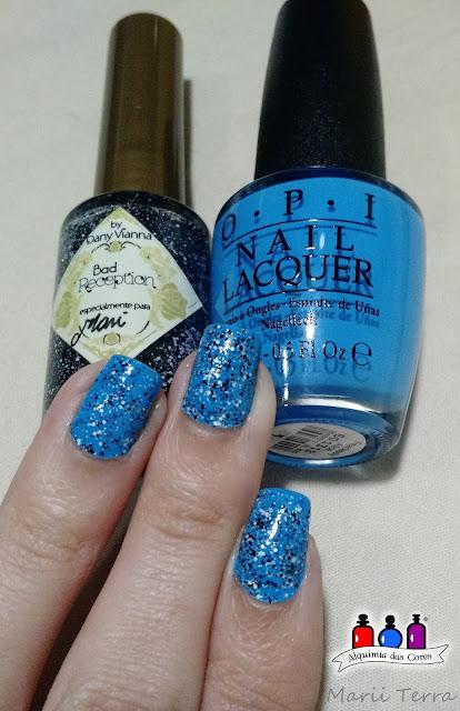 Azul, branco, by Dany Vianna, Glitter, Holográfico, OPI, Preto,