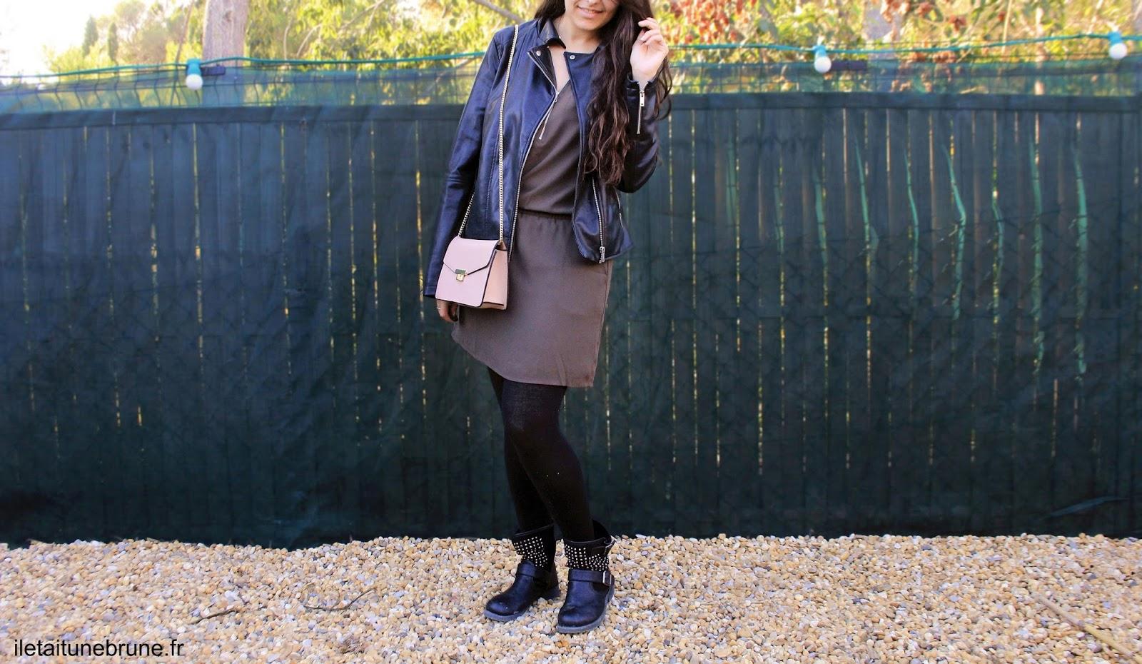 look d'automne en kaki et simili cuir