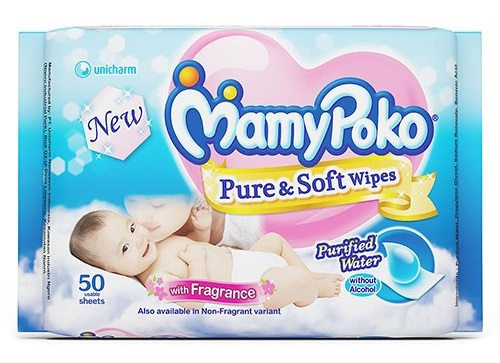 All New Mamy Poko Pure and Soft Wipes pack of 5