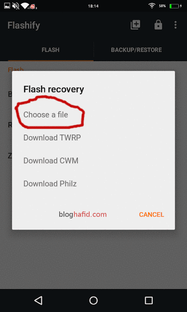 Choose file di Flashify