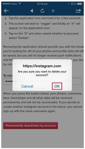 To delete instagram account on iphone how to delete instagram account on iphone ccuart Gallery