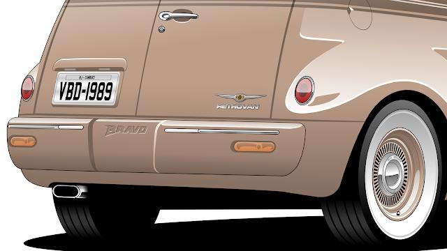 Imagem mostrando o detalhe da traseira do Chrysler PT Cruiser ''Retrovan''