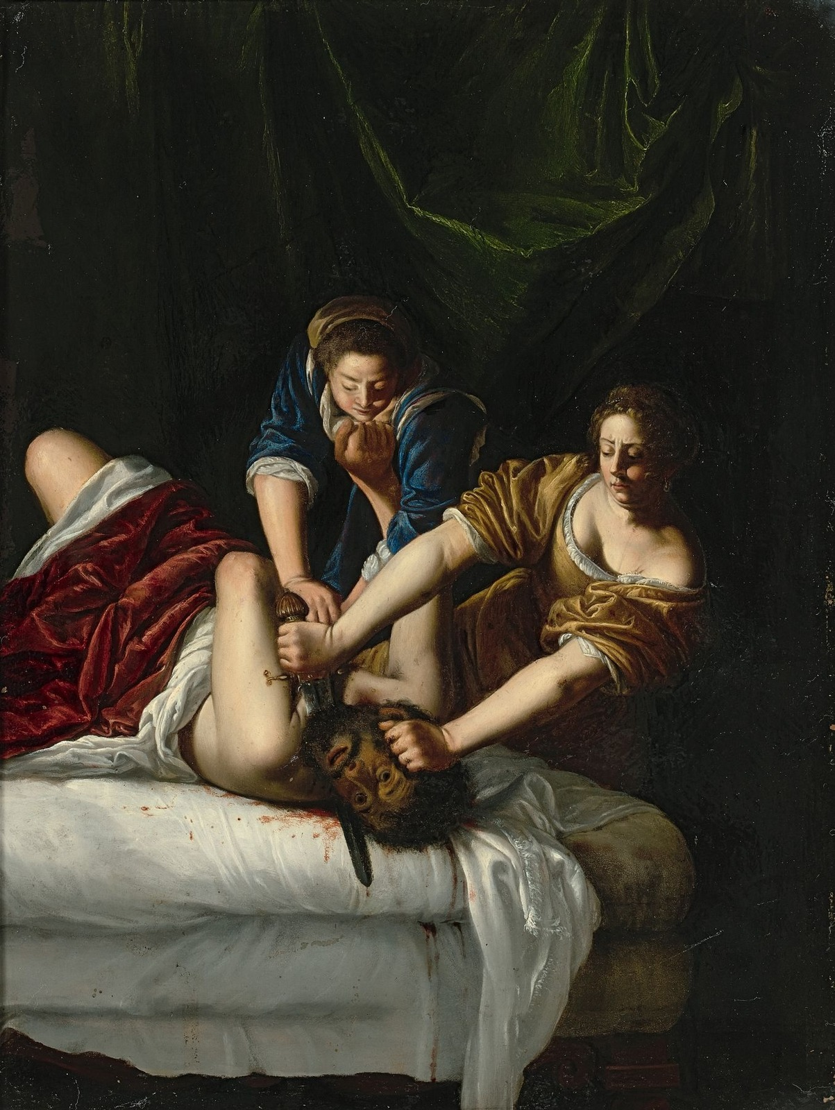 formal analysis of judith beheading holofernes The art in this stunning and visceral painting by artemisia gentileschi a terrified and determine judith, aided by her loyal maidservant, are frozen in a moment of horror and bravery as the two attempt to conceal the severed head of the villain holofernes.