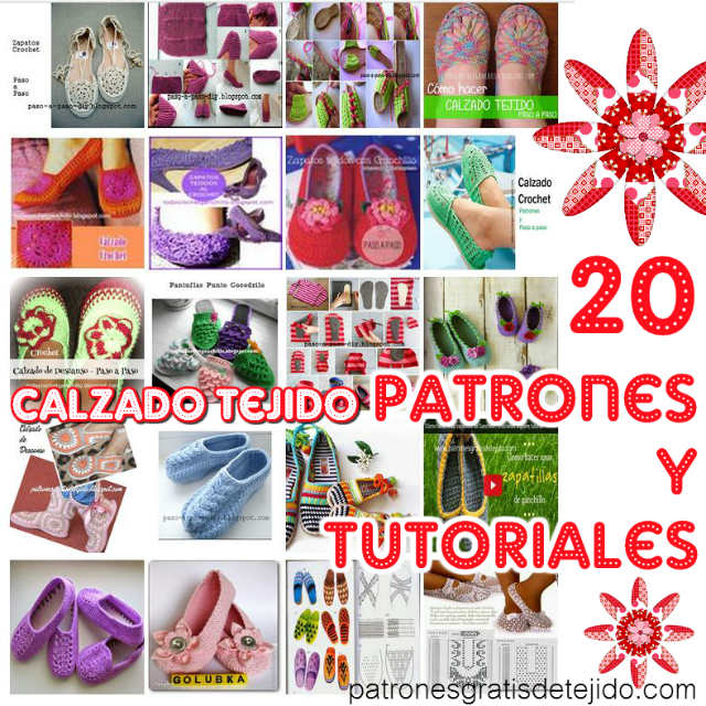 20 patrones y paso a paso de zapatos y pantuflas para tejer crochet y dos agujas