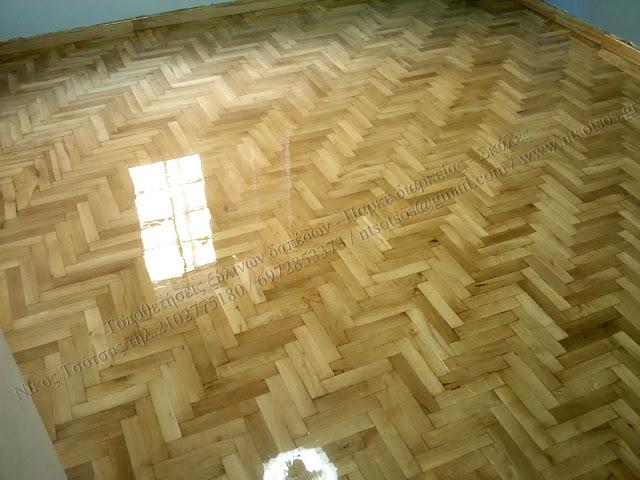 Συντήρηση και γυάλισμα ξύλινου δαπέδου δρυός