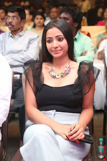 Swetha Basu in a Black Sleeveless Top Long Skirt at Mixture Potlam Movie Audio Launch 062.JPG