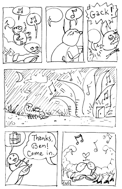 A comic about a scorpion going to a party. His party gift is a beetle. (c) 2015 by David Borden.
