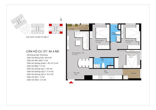 Mặt bằng căn hộ C2 của Hateco Xuân Phương