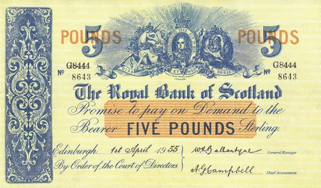 Five pounds Royal Bank of Scotland notes banknotes