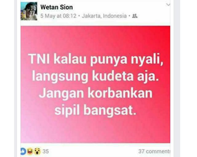 Wetan Sion (Ahoker): TNI Kalau Punya Nyali, Langsung Kudeta Aja. Jangan Korbankan Sipil Bangsat
