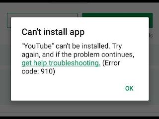 Cara Mengatasi Can't Install App Error Code 910 di Android