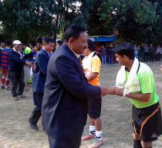 Cinchona Manager Naresh Baraily with football referee Santosh Biswa