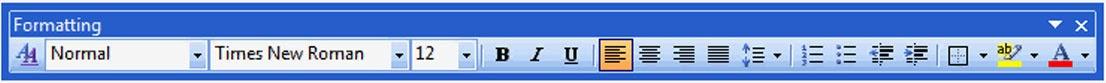 Formating tool bar