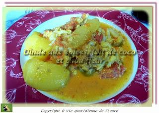 Vie quotidienne de FLaure: Dinde aux épices, lait de coco et chou-fleur