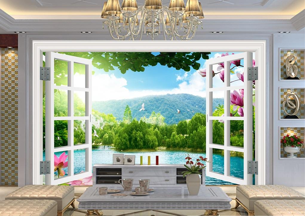 Tranh dán tường 3d phong cảnh hoa sen cò bay
