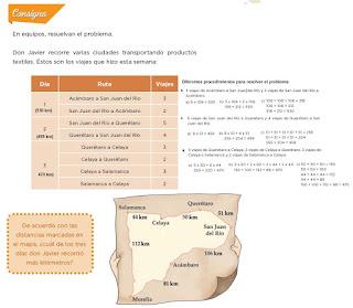Respuestas Apoyo Primaria Desafíos Matemáticos 4to. Grado Bloque III Lección 59 De viaje