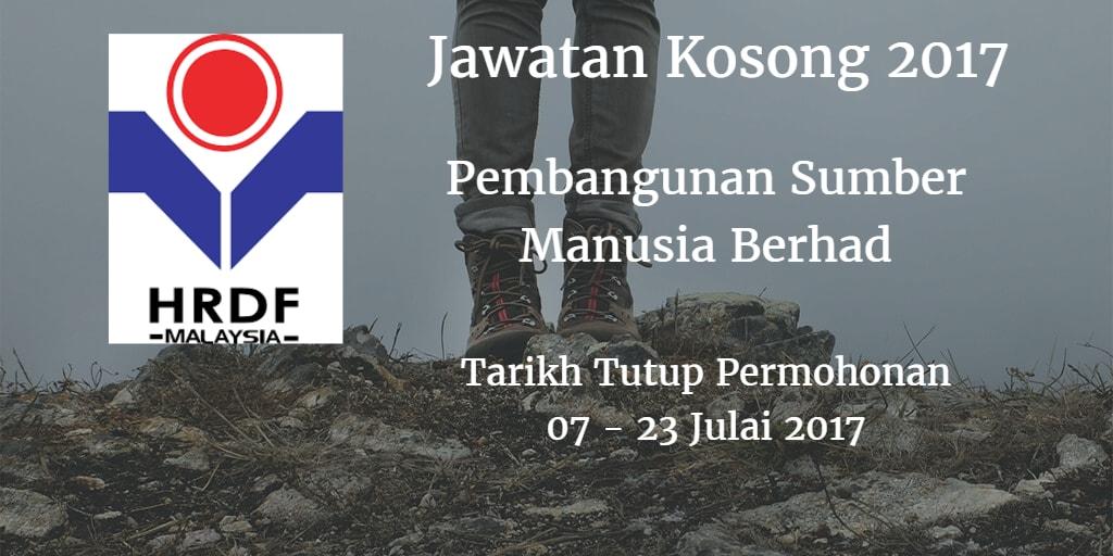 Jawatan Kosong HRDF 07 - 23 Julai 2017