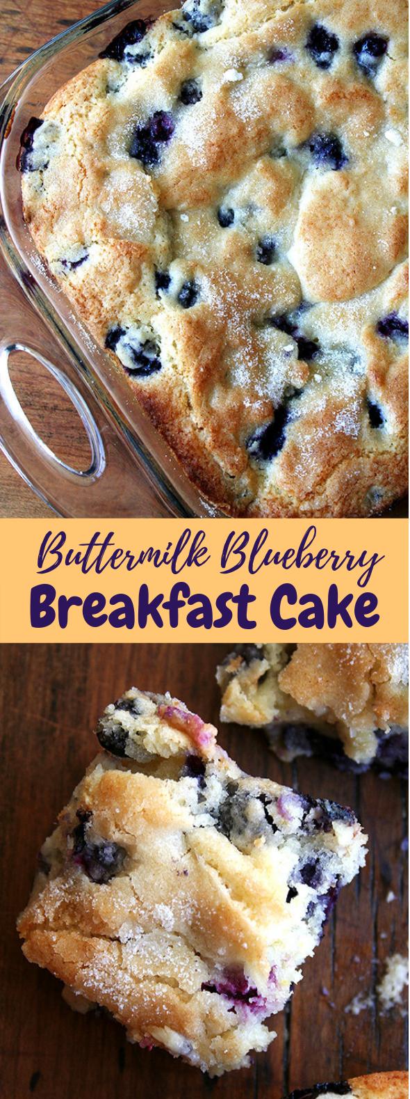 Buttermilk Blueberry Breakfast Cake #Sweet #Cakes