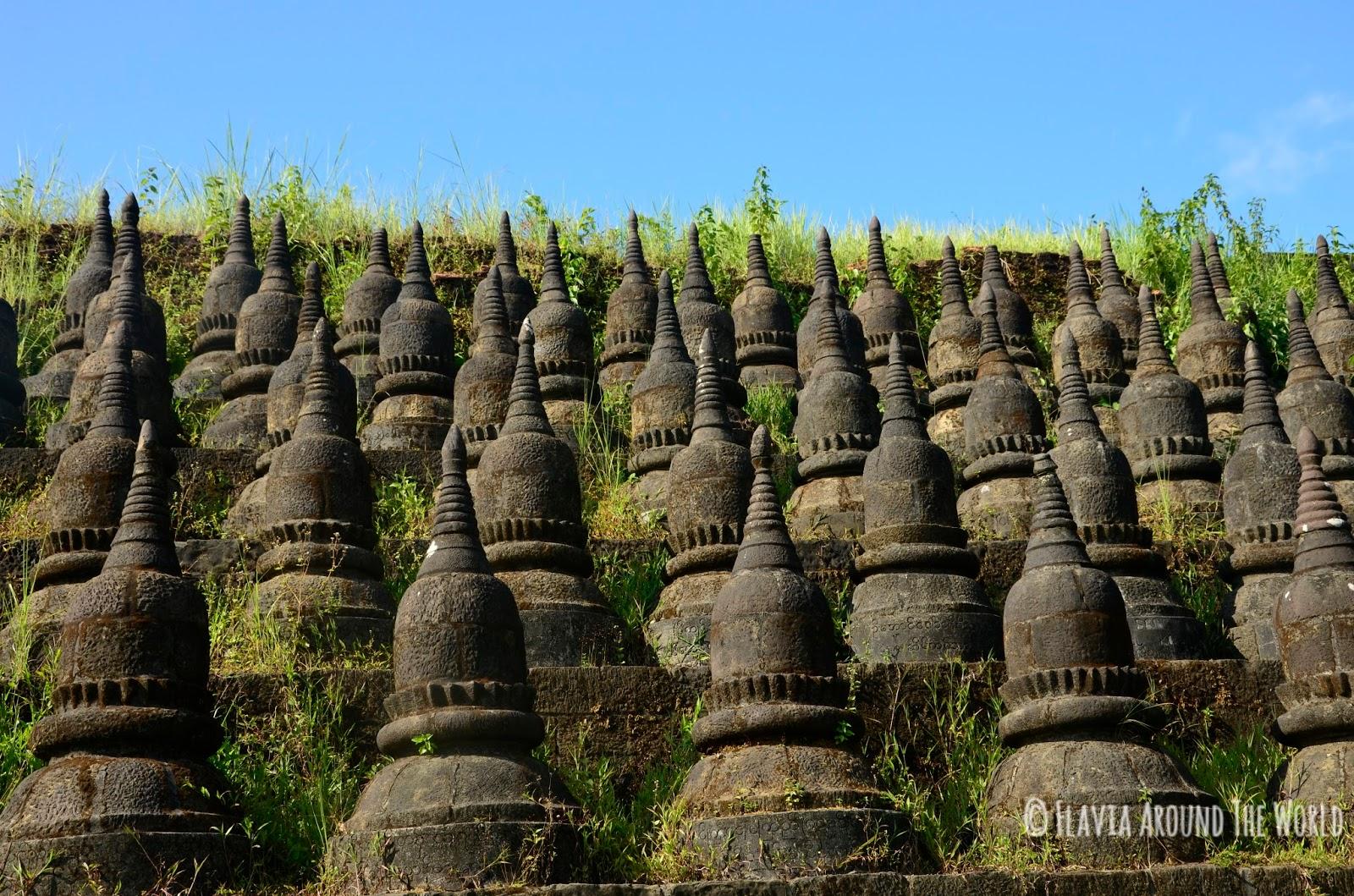 Detalles de las murallas de Koethaung, Mrauk U, Myanmar