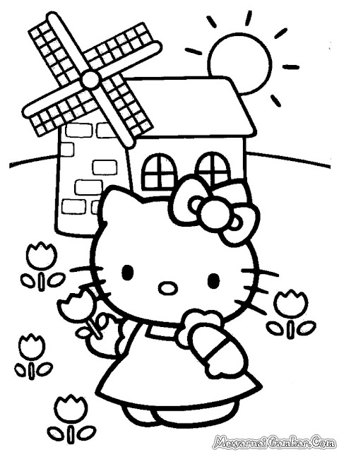 Hello Kitty Memetik Bunga Ditaman