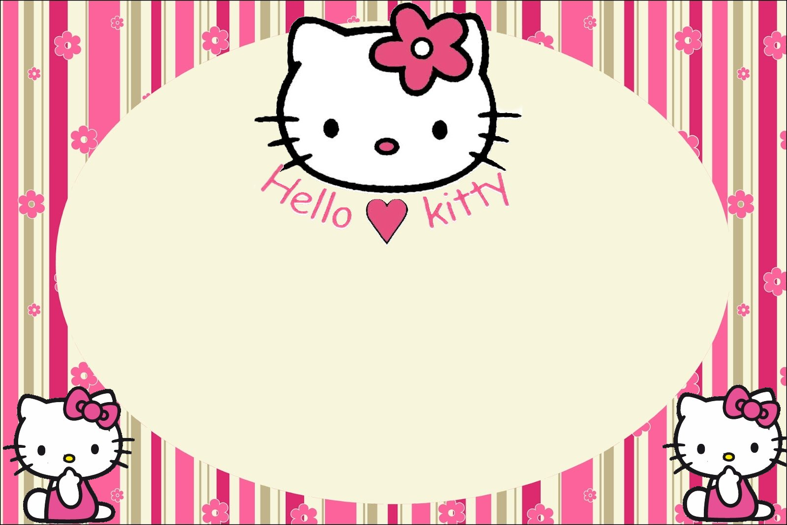 Hello Kitty with Flowers: Free Printable Invitations. | Oh ...