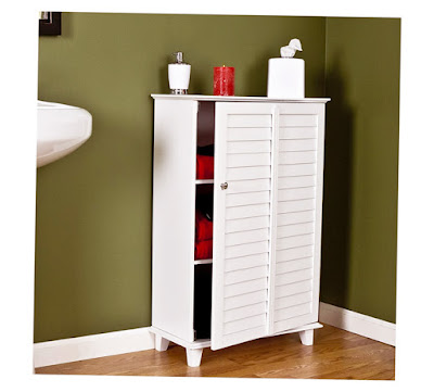 Bathroom Towel Cabinet Ideas White Color Brown Floor and Shoft Color for Wall Picture 006