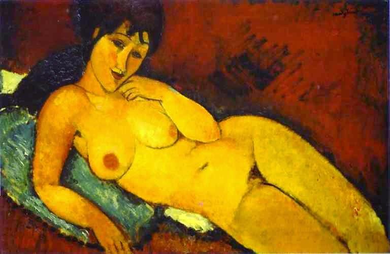 Mulher Nua em uma Almofada Azul - Amedeo Modigliani e suas pricipais pinturas