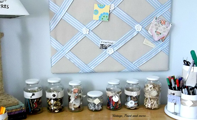 Vintage, Paint and more... jar organization, using decorated jars in decor, decorating with jars