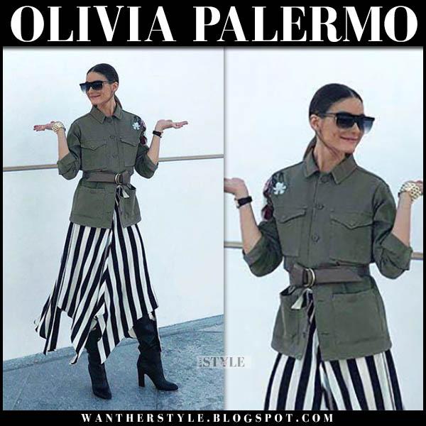 945021103ef5d9 Olivia Palermo in khaki green topshop jacket and black and white midi skirt  celebrity style november