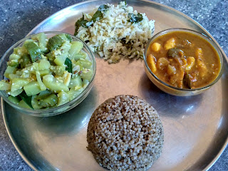 Kodo millet rice,  Bottle gourd Ridge gourd kootu,  Karunai kilangu curry,  Cabbage poriyal