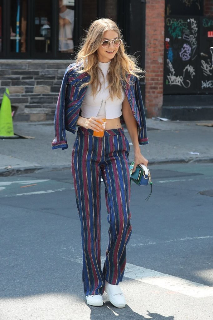 Gigi Hadid Wears a Bright Striped Suit Out in NYC