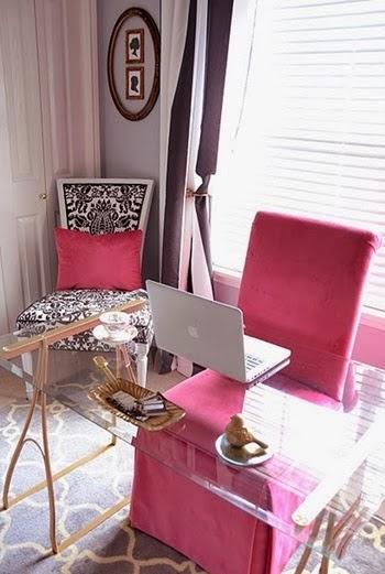 diseño oficina rosa y gris