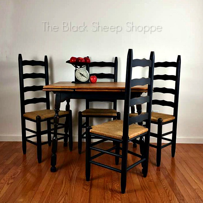 Vintage table and ladder back chairs.