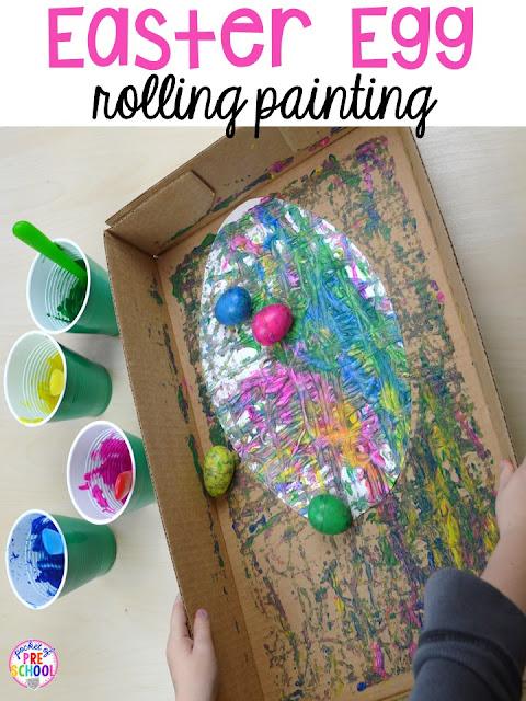 Process art for Easter... egg rolling art. Plus peeps 5 senses and taste test FREEBIE. For preschool, pre-k, and kindergarten.