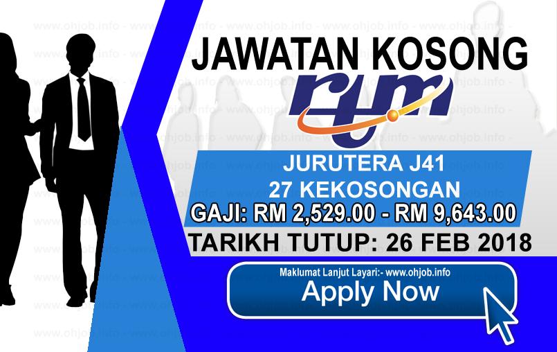 Jawatan Kerja Kosong Jabatan Penyiaran Malaysia - RTM logo www.ohjob.info februari 2018