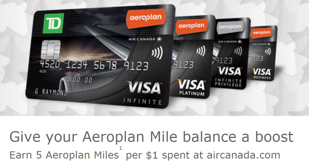 Canadian Rewards: TD Aeroplan Credit Card: Earn 5 miles per $1 ...
