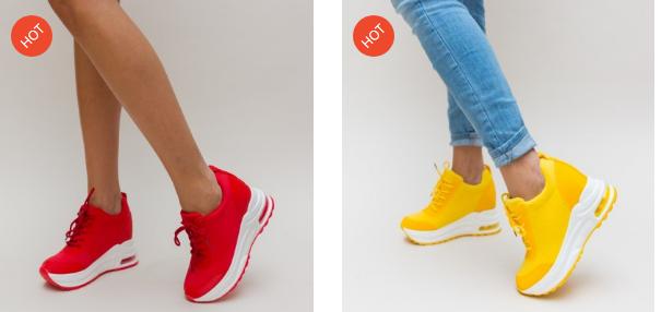 Adidasi cu talpa inalta moderni de femei rosii, galbeni cu perna de aer