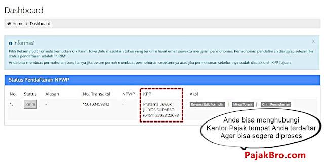 contoh pengisian pendaftaran npwp online berhasil