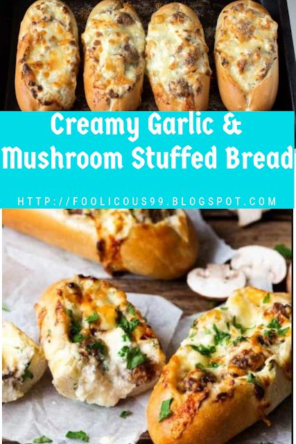 Creamy Garlic & Mushroom Stuffed Bread