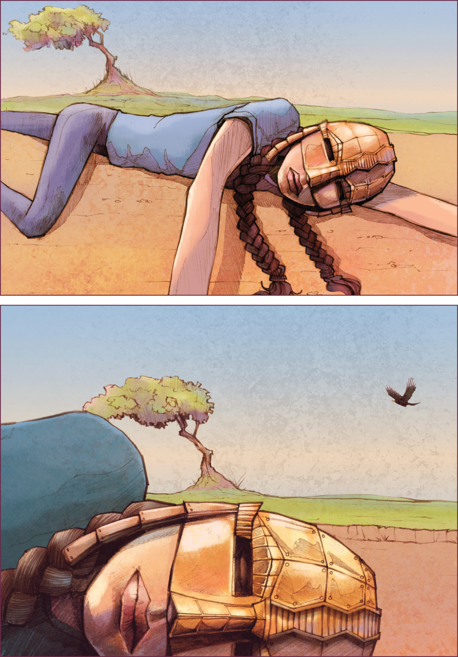 Lian Webcomic, The Tree of Life, chapter 2. Lian lying on the ground