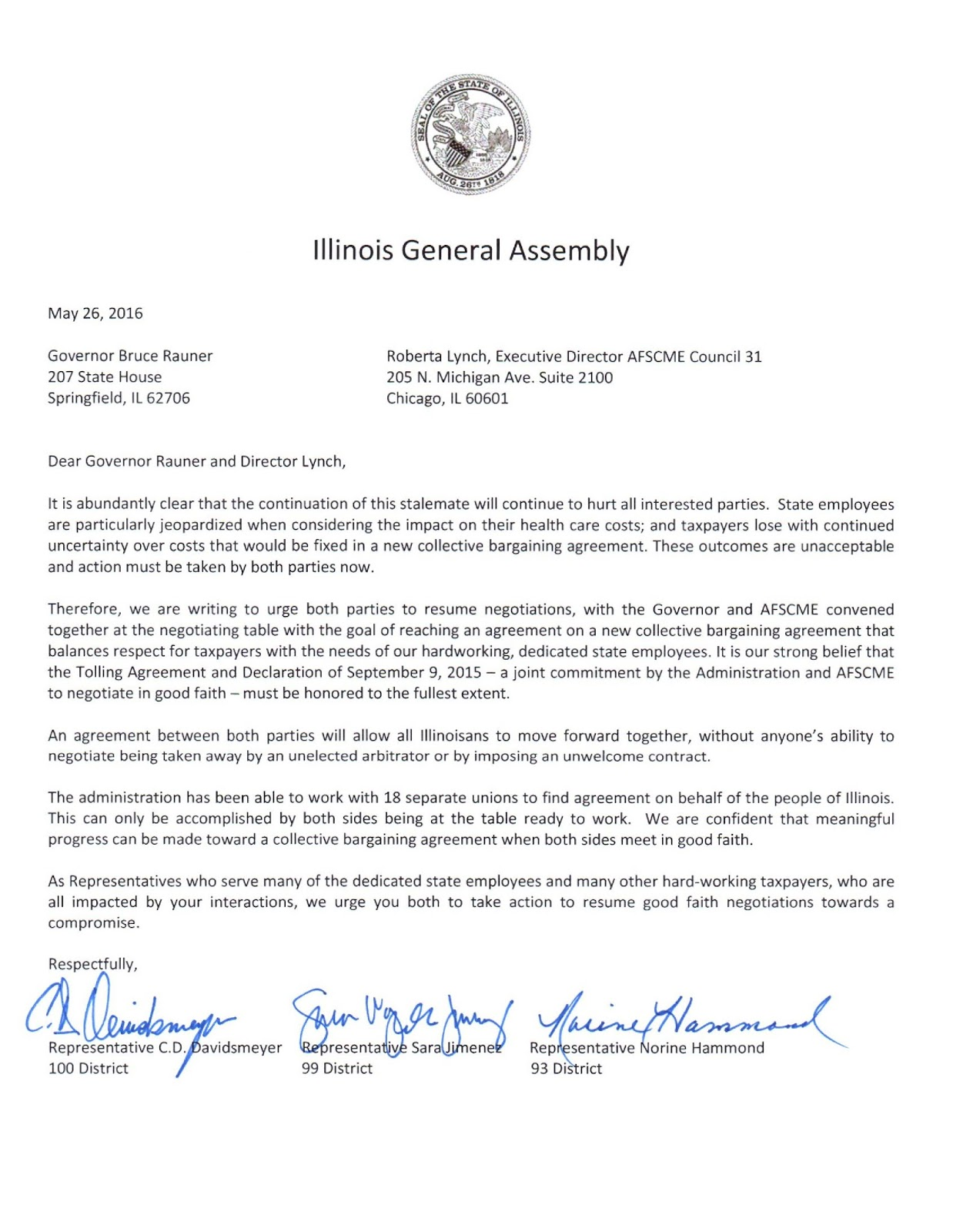 Illinois state representative sara jimenez rep jimenez republican this week sent a letter to governor bruce rauner and roberta lynch afscmes executive director requesting both sides resume good faith negotiations platinumwayz
