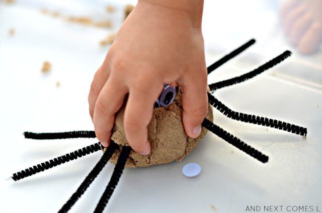 Building spiders out of kinetic sand - a simple fine motor sensory activity for toddlers and preschoolers from And Next Comes L