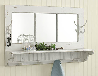 White Mirror with Hooks, Pegs, & Shelf