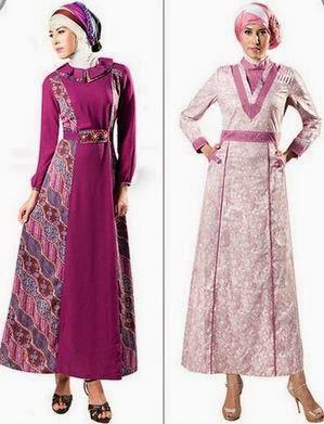 Baju muslim kombinasi batik dan style modern