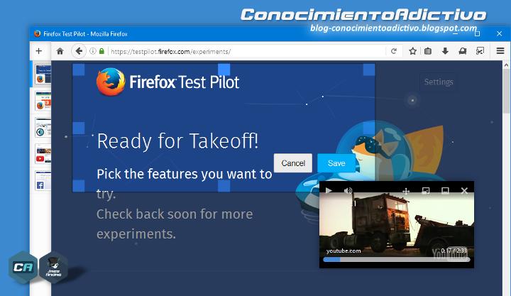 Firefox Test Pilot: Funciones experimentales de Firefox - Videos flotantes, Capturas de pantalla, Pestañas laterales, y más